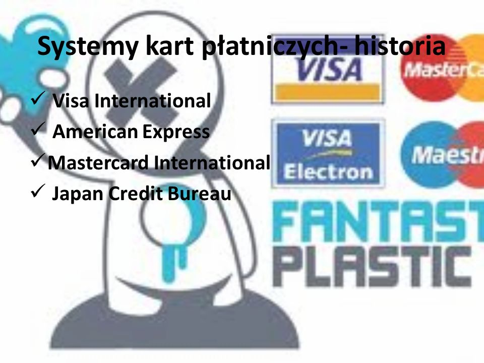 Systemy kart płatniczych- historia Visa International American Express Mastercard International Japan Credit Bureau