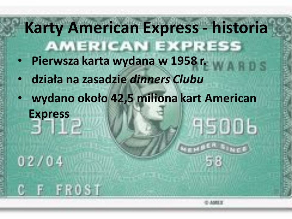Karty American Express - historia Pierwsza karta wydana w 1958 r.