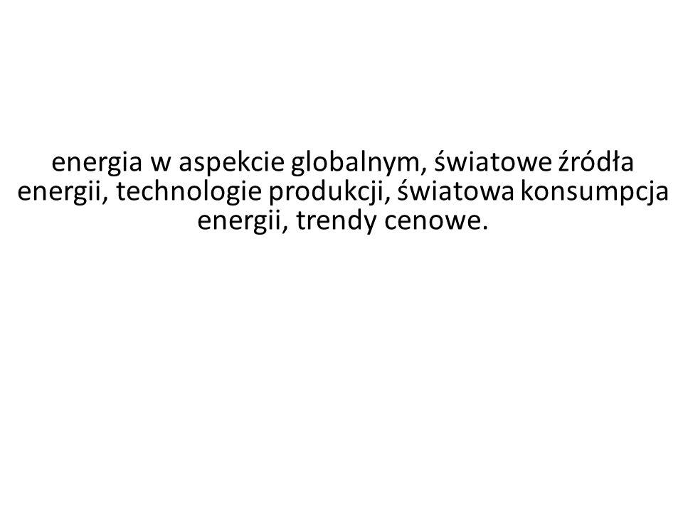 energia w aspekcie globalnym, światowe źródła energii, technologie produkcji, światowa konsumpcja energii, trendy cenowe.