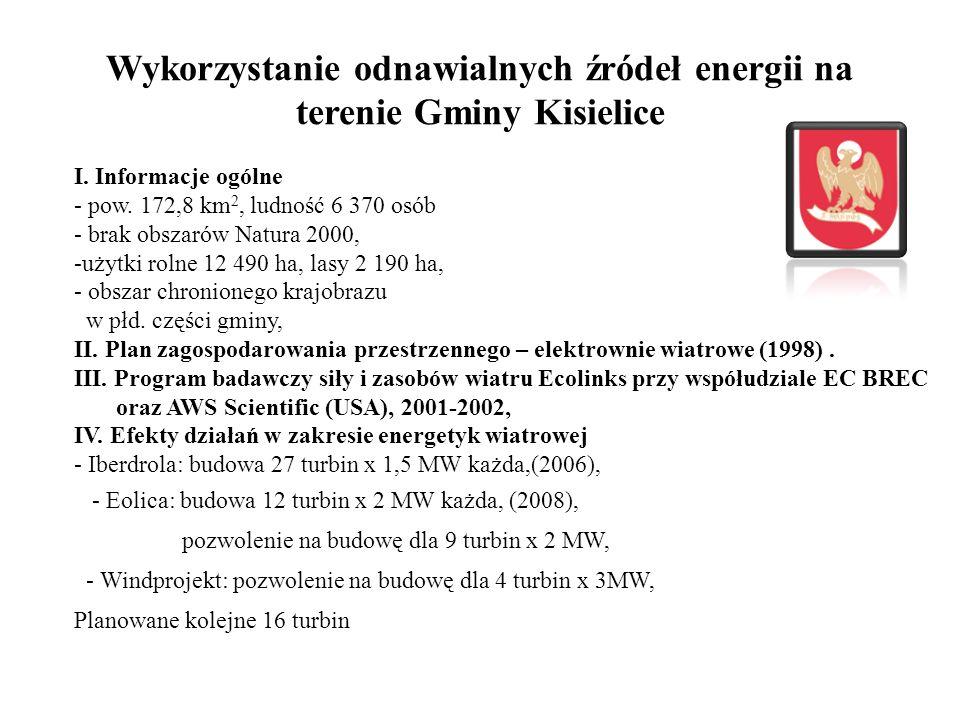 Wykorzystanie odnawialnych źródeł energii na terenie Gminy Kisielice I. Informacje ogólne - pow. 172,8 km 2, ludność 6 370 osób - brak obszarów Natura