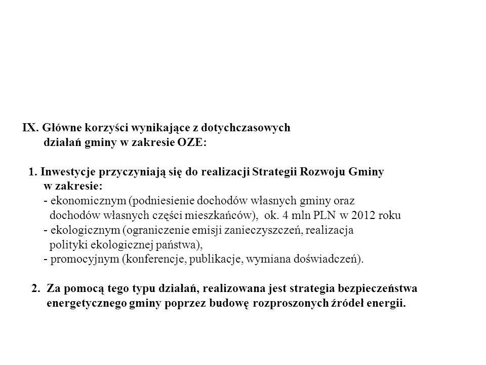 IX. Główne korzyści wynikające z dotychczasowych działań gminy w zakresie OZE: 1. Inwestycje przyczyniają się do realizacji Strategii Rozwoju Gminy w