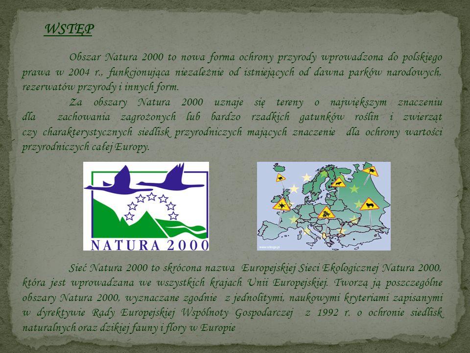 WSTĘP Obszar Natura 2000 to nowa forma ochrony przyrody wprowadzona do polskiego prawa w 2004 r., funkcjonująca niezależnie od istniejących od dawna p