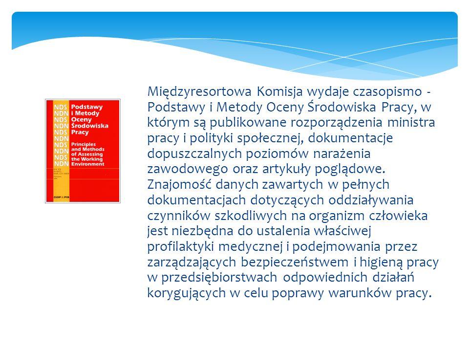 Międzyresortowa Komisja wydaje czasopismo - Podstawy i Metody Oceny Środowiska Pracy, w którym są publikowane rozporządzenia ministra pracy i polityki