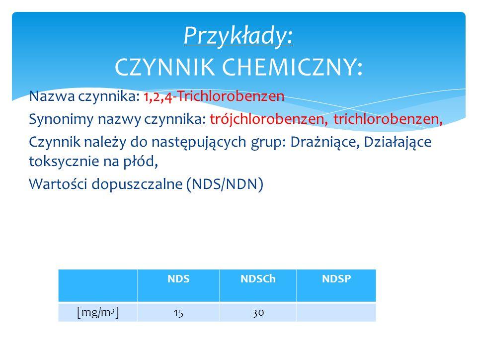Nazwa czynnika: 1,2,4-Trichlorobenzen Synonimy nazwy czynnika: trójchlorobenzen, trichlorobenzen, Czynnik należy do następujących grup: Drażniące, Dzi