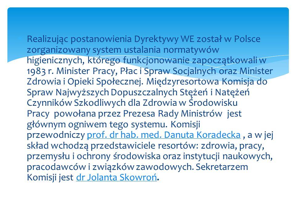 Realizując postanowienia Dyrektywy WE został w Polsce zorganizowany system ustalania normatywów higienicznych, którego funkcjonowanie zapoczątkowali w