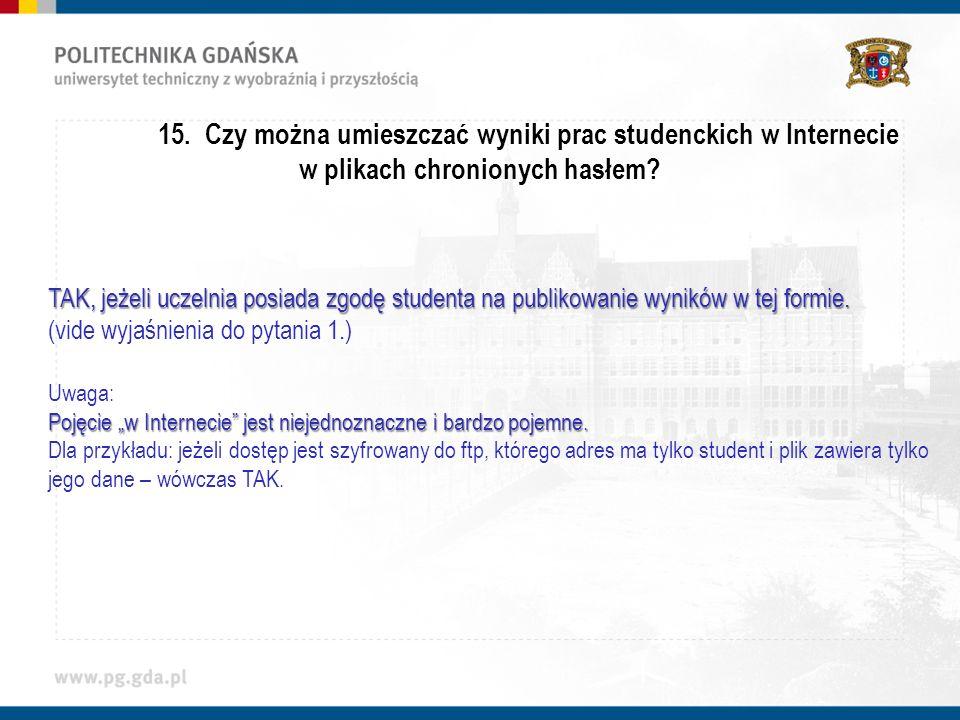 15.Czy można umieszczać wyniki prac studenckich w Internecie w plikach chronionych hasłem.