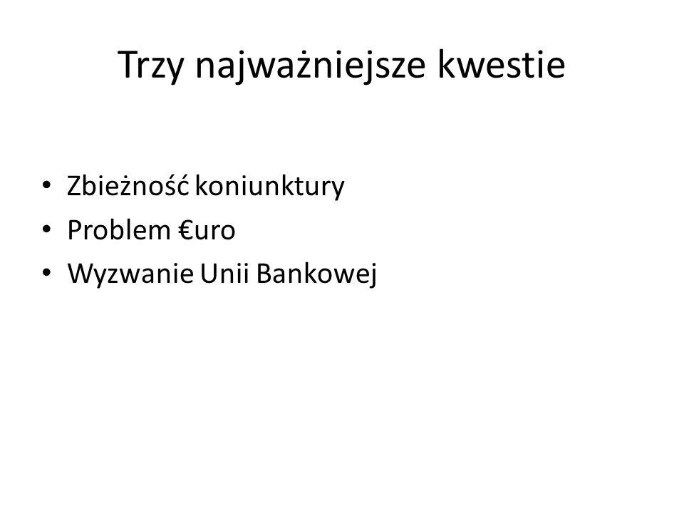 Trzy najważniejsze kwestie Zbieżność koniunktury Problem uro Wyzwanie Unii Bankowej