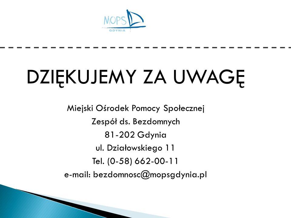 DZIĘKUJEMY ZA UWAGĘ Miejski Ośrodek Pomocy Społecznej Zespół ds. Bezdomnych 81-202 Gdynia ul. Działowskiego 11 Tel. (0-58) 662-00-11 e-mail: bezdomnos