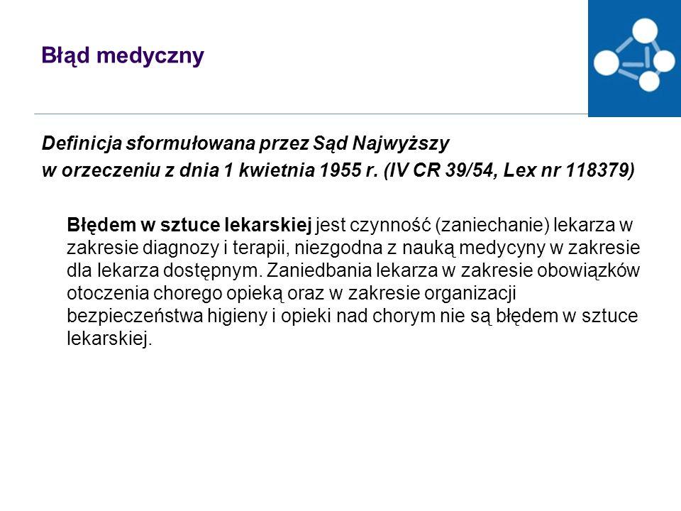 Błąd medyczny Definicja sformułowana przez Sąd Najwyższy w orzeczeniu z dnia 1 kwietnia 1955 r.