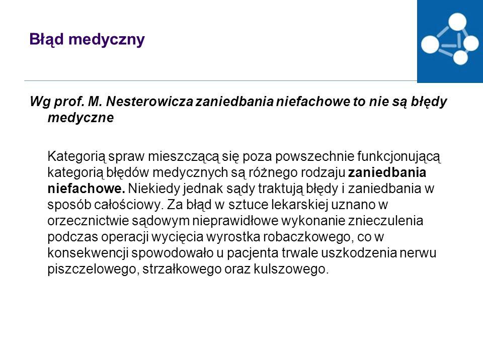 Błąd medyczny Wg prof.M.