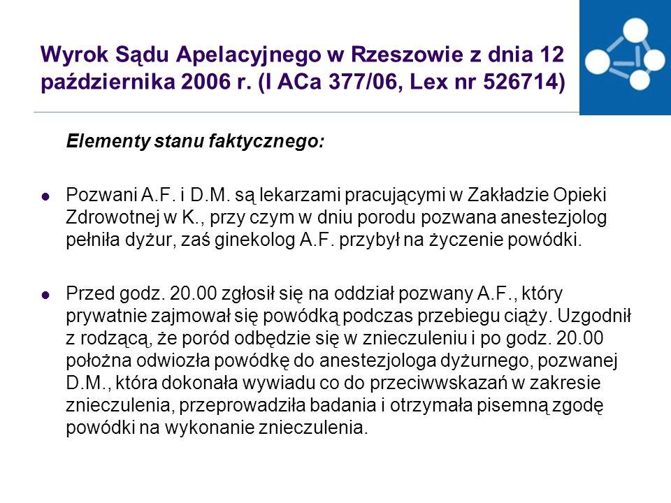 Wyrok Sądu Apelacyjnego w Rzeszowie z dnia 12 października 2006 r.