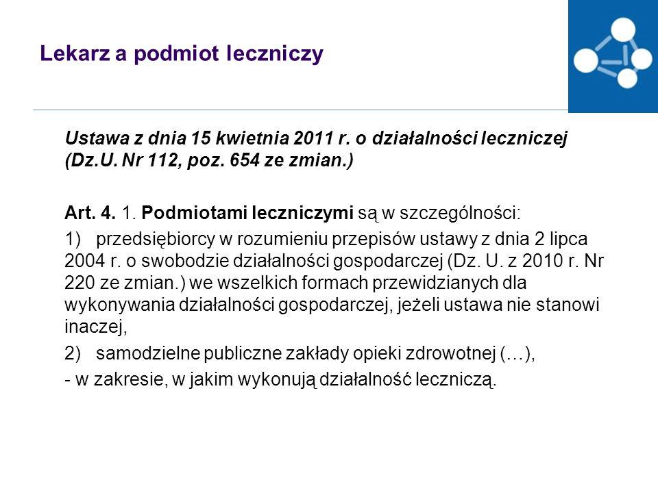 Lekarz a podmiot leczniczy Ustawa z dnia 15 kwietnia 2011 r.
