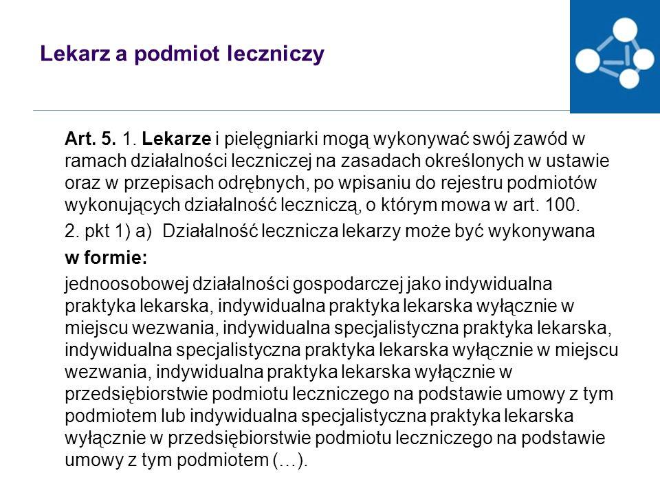 Lekarz a podmiot leczniczy Art.5. 1.
