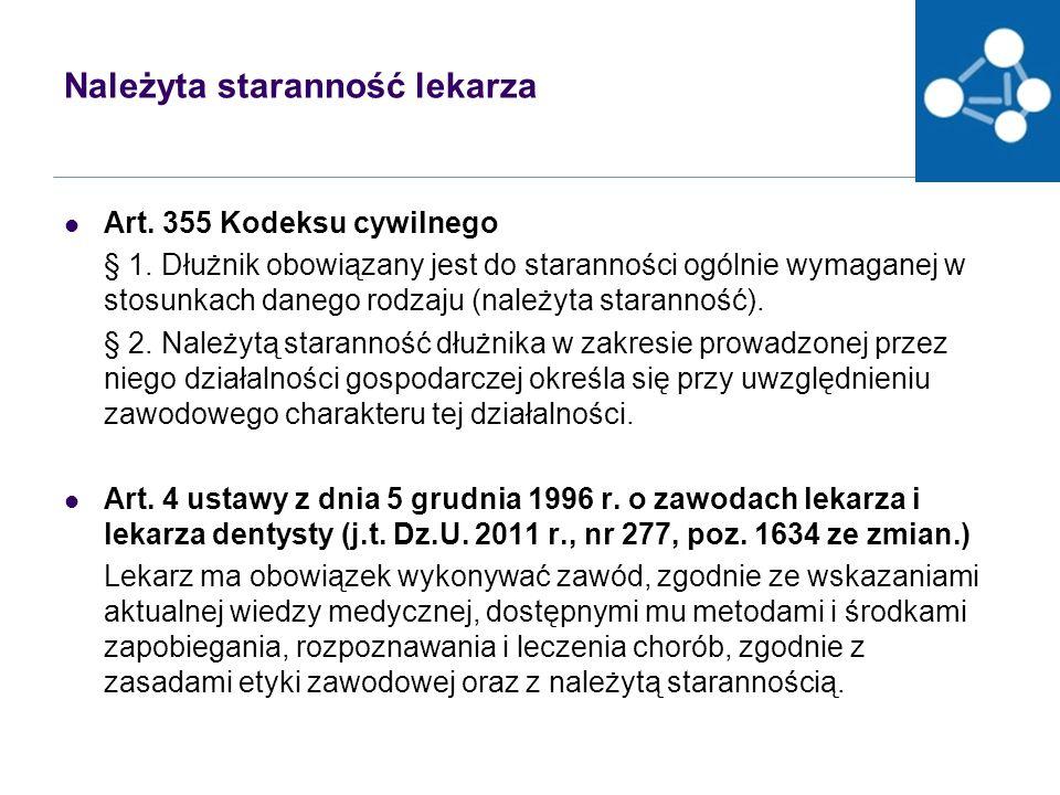 Należyta staranność lekarza Art.355 Kodeksu cywilnego § 1.