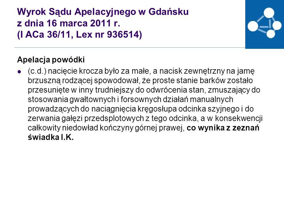 Wyrok Sądu Apelacyjnego w Gdańsku z dnia 16 marca 2011 r.