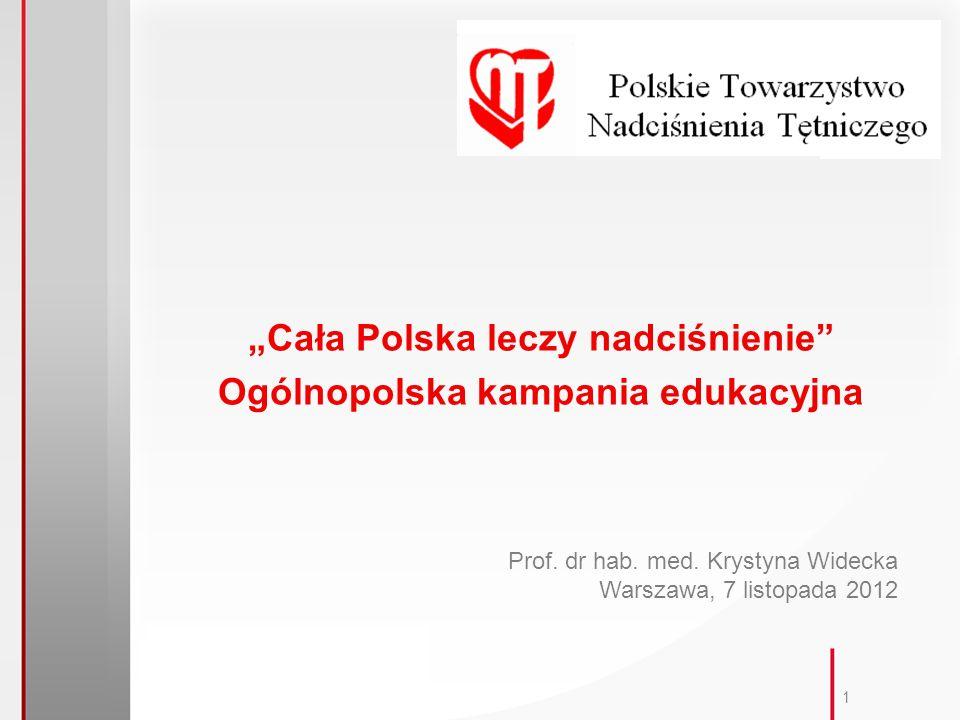 1 Cała Polska leczy nadciśnienie Ogólnopolska kampania edukacyjna Prof.