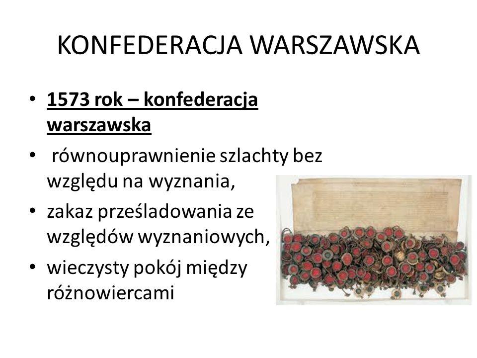KONFEDERACJA WARSZAWSKA 1573 rok – konfederacja warszawska równouprawnienie szlachty bez względu na wyznania, zakaz prześladowania ze względów wyznaniowych, wieczysty pokój między różnowiercami