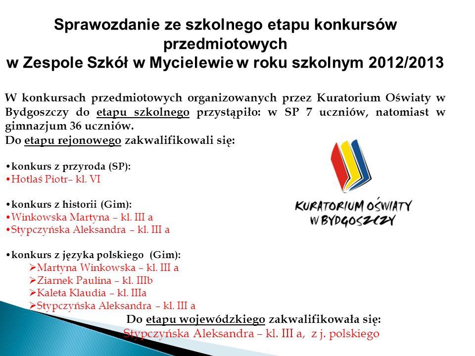 Sprawozdanie ze szkolnego etapu konkursów przedmiotowych w Zespole Szkół w Mycielewie w roku szkolnym 2012/2013 W konkursach przedmiotowych organizowa