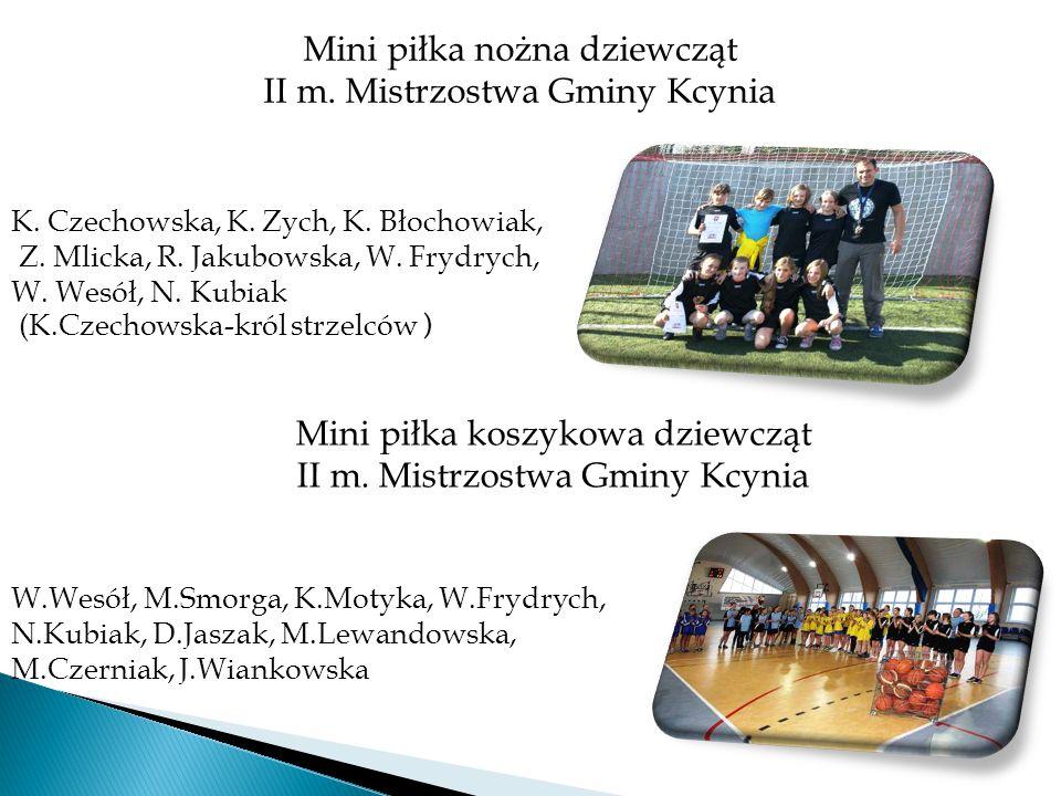 Mini piłka nożna dziewcząt II m. Mistrzostwa Gminy Kcynia Mini piłka koszykowa dziewcząt II m. Mistrzostwa Gminy Kcynia K. Czechowska, K. Zych, K. Bło