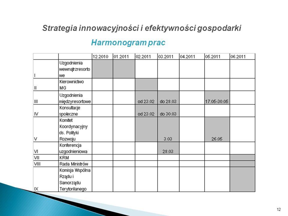 12 Strategia innowacyjności i efektywności gospodarki Harmonogram prac
