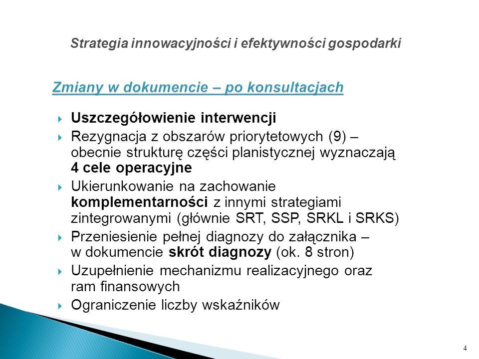 Uszczegółowienie interwencji Rezygnacja z obszarów priorytetowych (9) – obecnie strukturę części planistycznej wyznaczają 4 cele operacyjne Ukierunkow