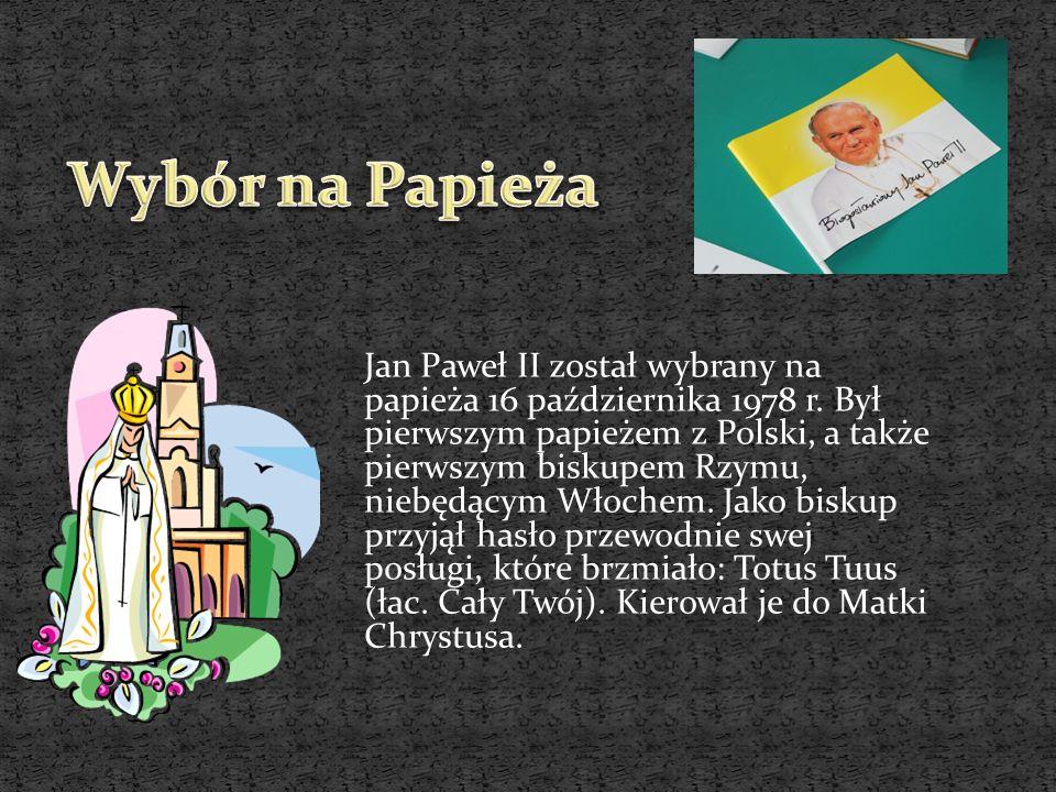 Jan Paweł II został wybrany na papieża 16 października 1978 r. Był pierwszym papieżem z Polski, a także pierwszym biskupem Rzymu, niebędącym Włochem.