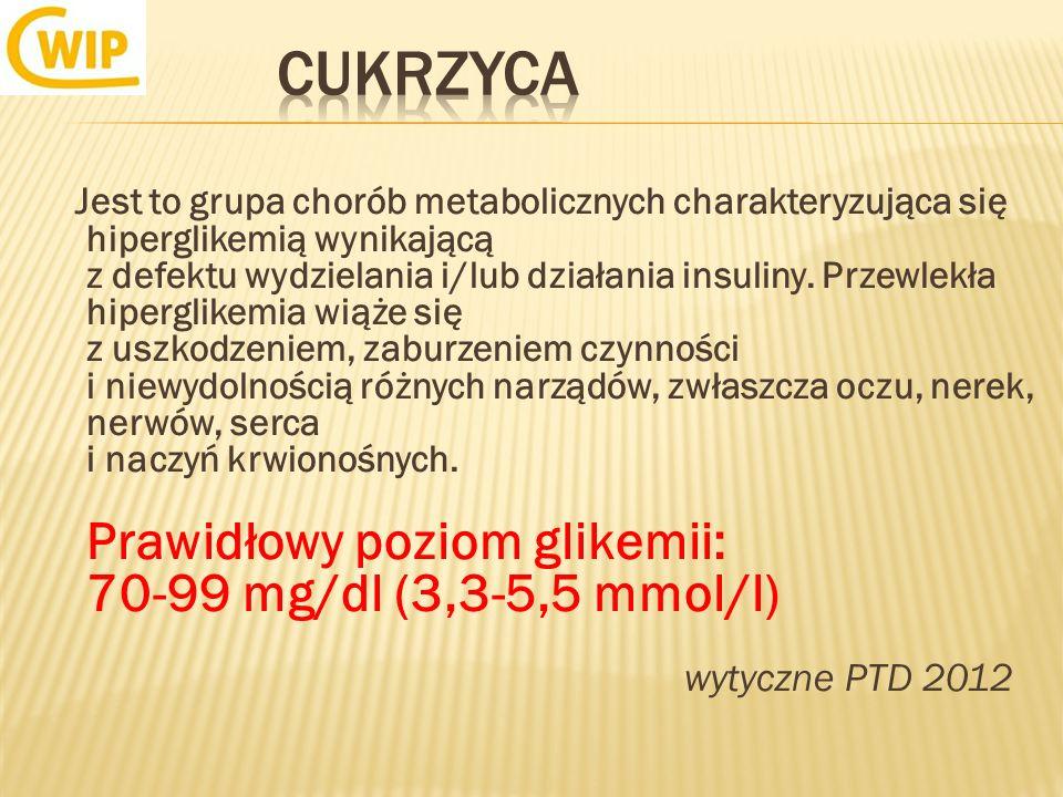 Jest to grupa chorób metabolicznych charakteryzująca się hiperglikemią wynikającą z defektu wydzielania i/lub działania insuliny. Przewlekła hiperglik