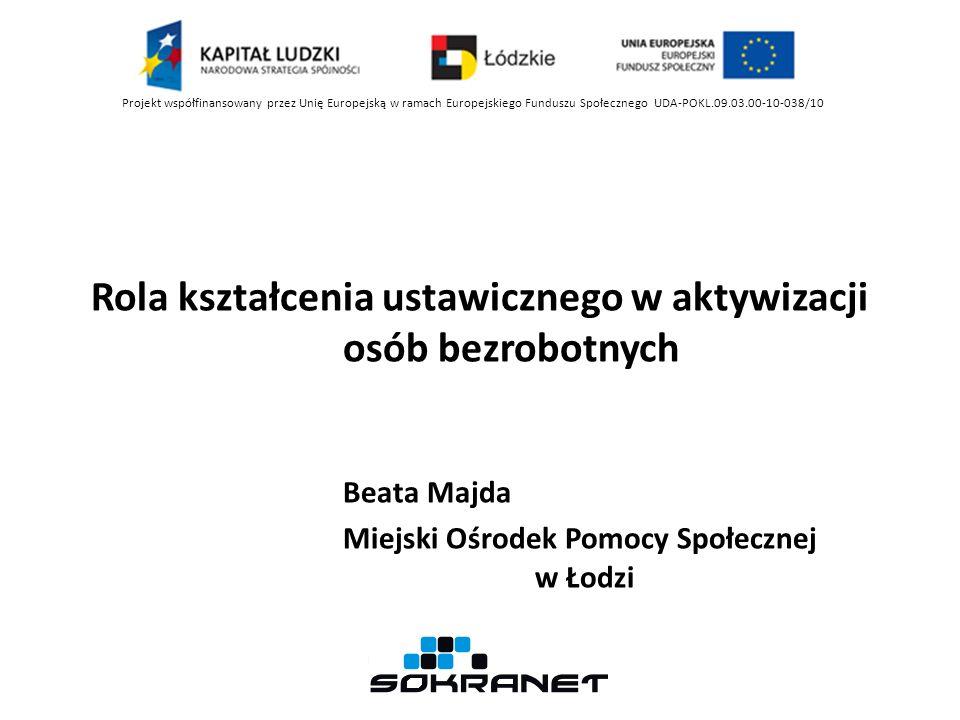 Rola kształcenia ustawicznego w aktywizacji osób bezrobotnych Beata Majda Miejski Ośrodek Pomocy Społecznej w Łodzi Projekt współfinansowany przez Uni
