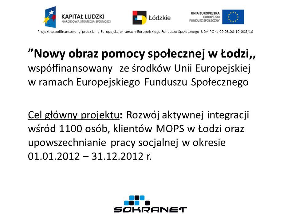 Nowy obraz pomocy społecznej w Łodzi,, współfinansowany ze środków Unii Europejskiej w ramach Europejskiego Funduszu Społecznego Cel główny projektu: