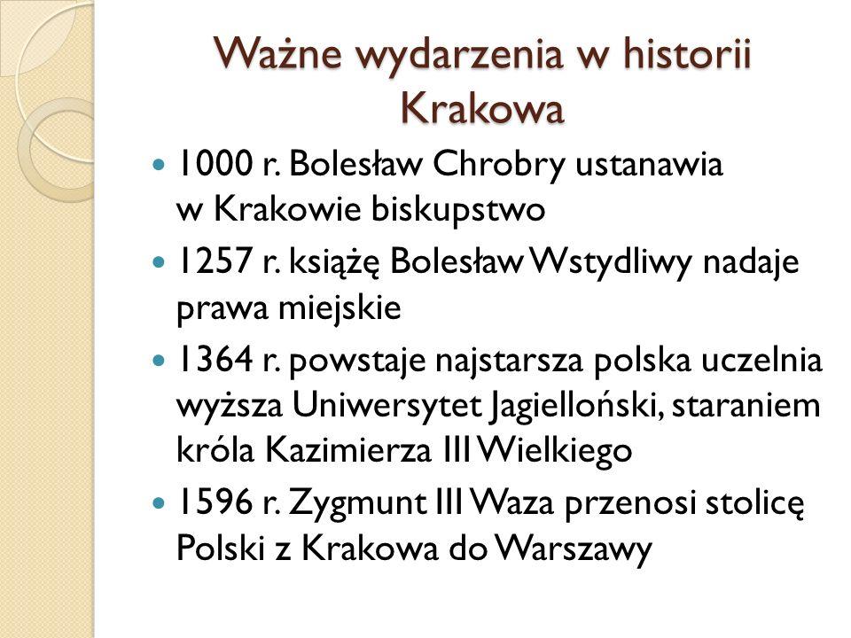 Ważne wydarzenia w historii Krakowa 1000 r. Bolesław Chrobry ustanawia w Krakowie biskupstwo 1257 r. książę Bolesław Wstydliwy nadaje prawa miejskie 1