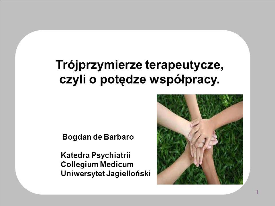 Rodzina pacjenta włączona do przymierza, czyli idea trójprzymierza Trzy perspektywy - Doświadczenie osobiste pacjenta - Doświadczenie zawodowe terapeuty - Doświadczenie relacyjne rodziny Ryzyko rywalizacji Ryzyko wzajemnej dewaluacji Szansa: trójprzymierze 12