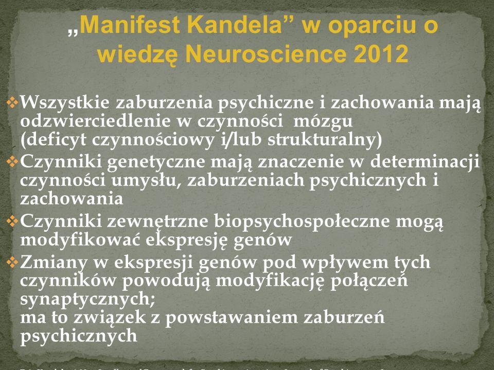 Wszystkie zaburzenia psychiczne i zachowania mają odzwierciedlenie w czynności mózgu (deficyt czynnościowy i/lub strukturalny) Czynniki genetyczne maj