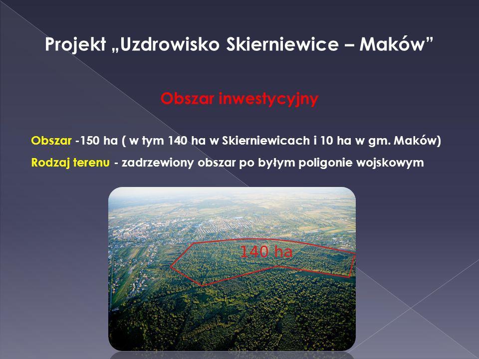 Obszar inwestycyjny Obszar -150 ha ( w tym 140 ha w Skierniewicach i 10 ha w gm. Maków) Rodzaj terenu - zadrzewiony obszar po byłym poligonie wojskowy
