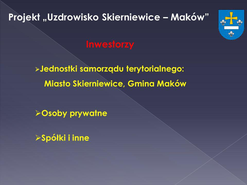 Projekt Uzdrowisko Skierniewice – Maków Jednostki samorządu terytorialnego: Miasto Skierniewice, Gmina Maków Osoby prywatne Spółki i inne Inwestorzy