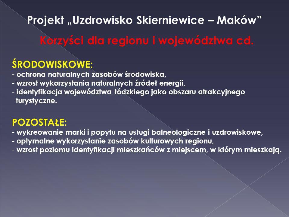 Projekt Uzdrowisko Skierniewice – Maków Korzyści dla regionu i województwa cd. ŚRODOWISKOWE: - ochrona naturalnych zasobów środowiska, - wzrost wykorz