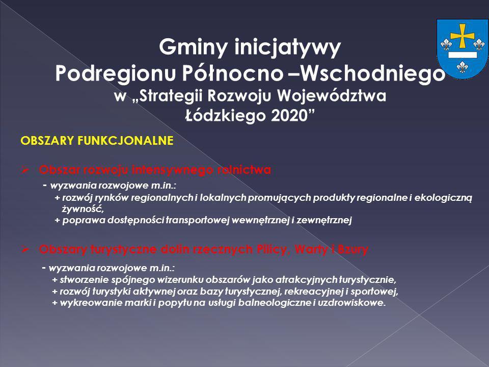 Gminy inicjatywy Podregionu Północno –Wschodniego w Strategii Rozwoju Województwa Łódzkiego 2020 OBSZARY FUNKCJONALNE Obszar rozwoju intensywnego roln