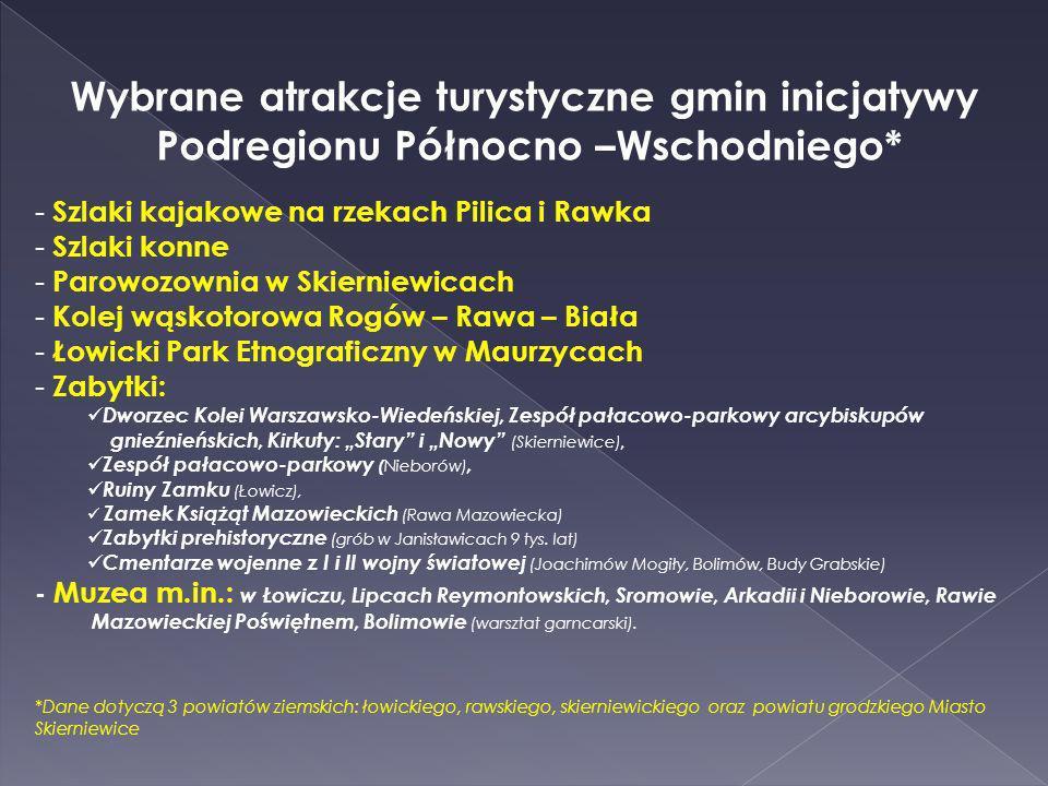 Wybrane atrakcje turystyczne gmin inicjatywy Podregionu Północno –Wschodniego* - Szlaki kajakowe na rzekach Pilica i Rawka - Szlaki konne - Parowozown
