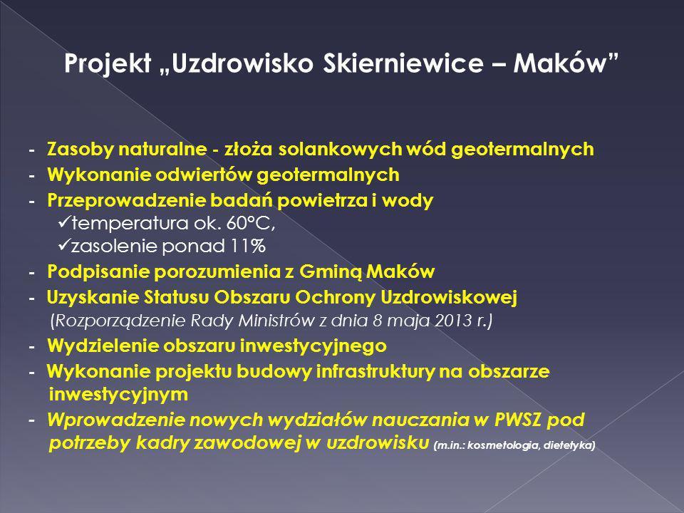 Projekt Uzdrowisko Skierniewice – Maków - Zasoby naturalne - złoża solankowych wód geotermalnych - Wykonanie odwiertów geotermalnych - Przeprowadzenie