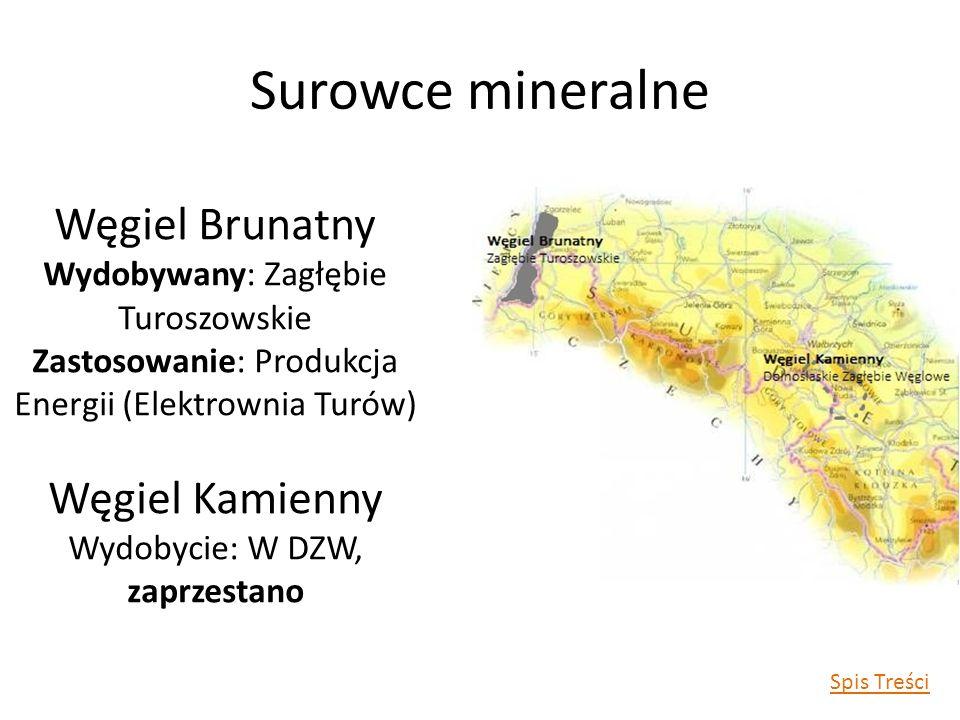 Surowce mineralne Węgiel Brunatny Wydobywany: Zagłębie Turoszowskie Zastosowanie: Produkcja Energii (Elektrownia Turów) Węgiel Kamienny Wydobycie: W DZW, zaprzestano Spis Treści