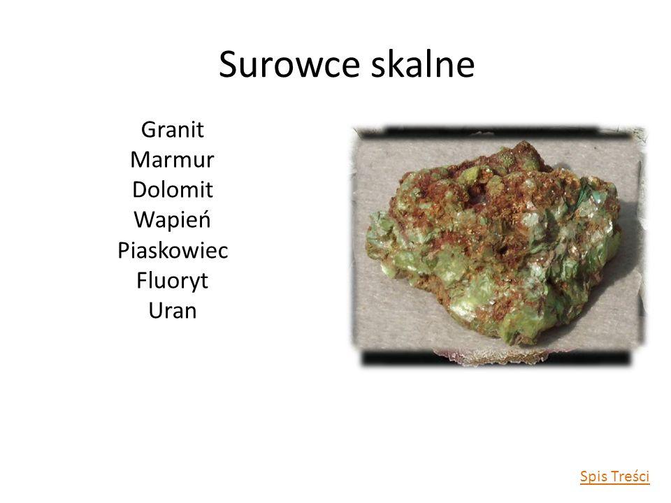 Granit Marmur Dolomit Wapień Piaskowiec Fluoryt Uran Surowce skalne Spis Treści