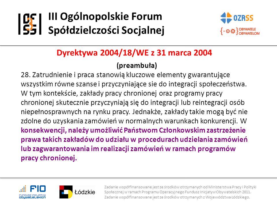 III Ogólnopolskie Forum Spółdzielczości Socjalnej Zadanie współfinansowane jest ze środków otrzymanych od Ministerstwa Pracy i Polityki Społecznej w r