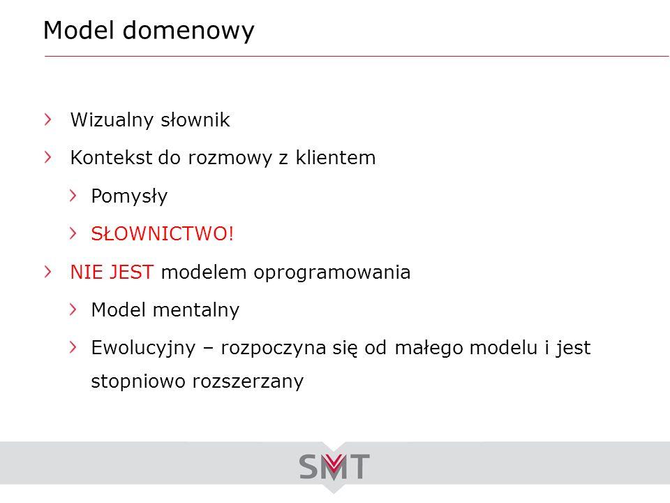 Model domenowy Wizualny słownik Kontekst do rozmowy z klientem Pomysły SŁOWNICTWO! NIE JEST modelem oprogramowania Model mentalny Ewolucyjny – rozpocz