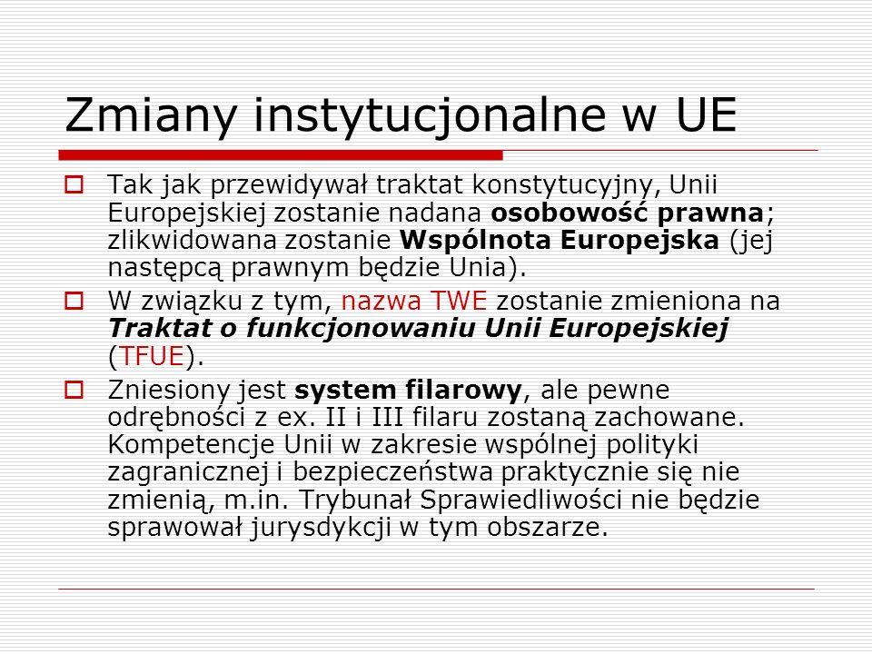 Zmiany instytucjonalne w UE Tak jak przewidywał traktat konstytucyjny, Unii Europejskiej zostanie nadana osobowość prawna; zlikwidowana zostanie Wspól
