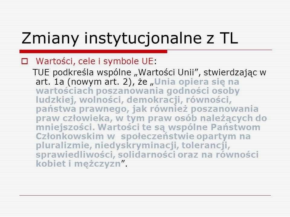 Zmiany instytucjonalne z TL Wartości, cele i symbole UE: TUE podkreśla wspólne Wartości Unii, stwierdzając w art. 1a (nowym art. 2), że Unia opiera si