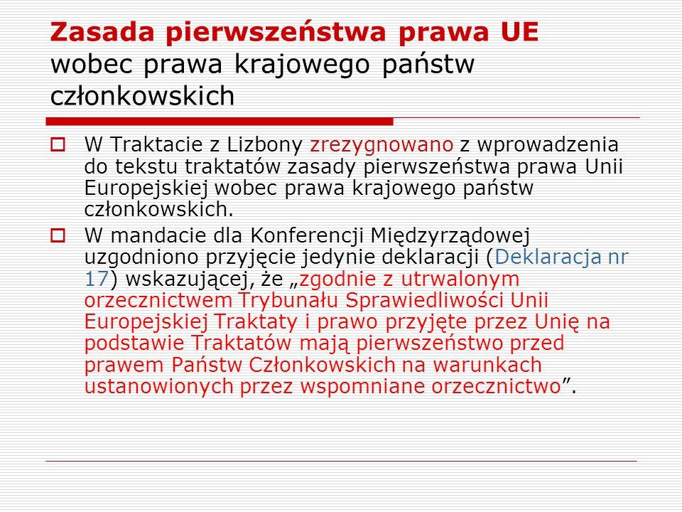 Zasada pierwszeństwa prawa UE wobec prawa krajowego państw członkowskich W Traktacie z Lizbony zrezygnowano z wprowadzenia do tekstu traktatów zasady