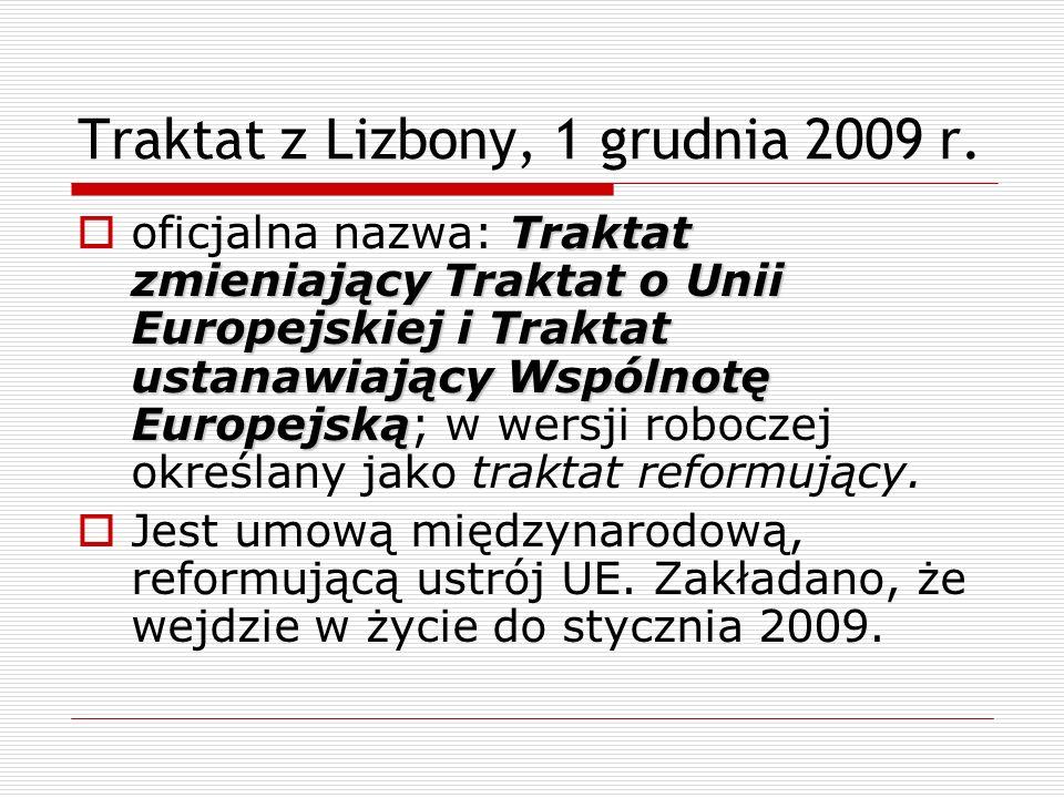 Traktat z Lizbony, 1 grudnia 2009 r. Traktat zmieniający Traktat o Unii Europejskiej i Traktat ustanawiający Wspólnotę Europejską oficjalna nazwa: Tra
