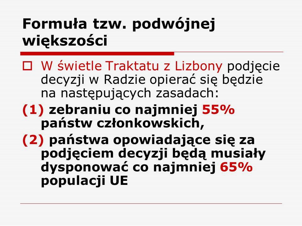Formuła tzw. podwójnej większości W świetle Traktatu z Lizbony podjęcie decyzji w Radzie opierać się będzie na następujących zasadach: (1) zebraniu co