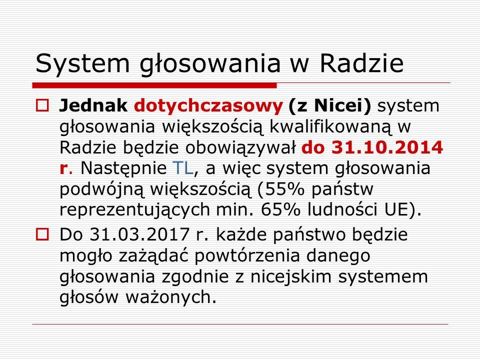 System głosowania w Radzie Jednak dotychczasowy (z Nicei) system głosowania większością kwalifikowaną w Radzie będzie obowiązywał do 31.10.2014 r. Nas