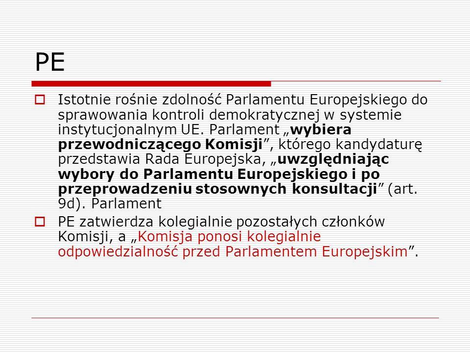 PE Istotnie rośnie zdolność Parlamentu Europejskiego do sprawowania kontroli demokratycznej w systemie instytucjonalnym UE. Parlament wybiera przewodn
