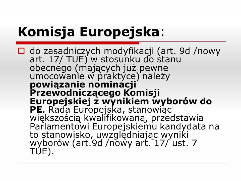 Komisja Europejska: do zasadniczych modyfikacji (art. 9d /nowy art. 17/ TUE) w stosunku do stanu obecnego (mających już pewne umocowanie w praktyce) n